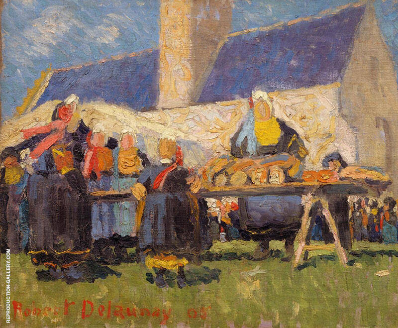 The Market Brittany Landscape 1905 By Robert Delaunay Replica Paintings on Canvas - Reproduction Gallery
