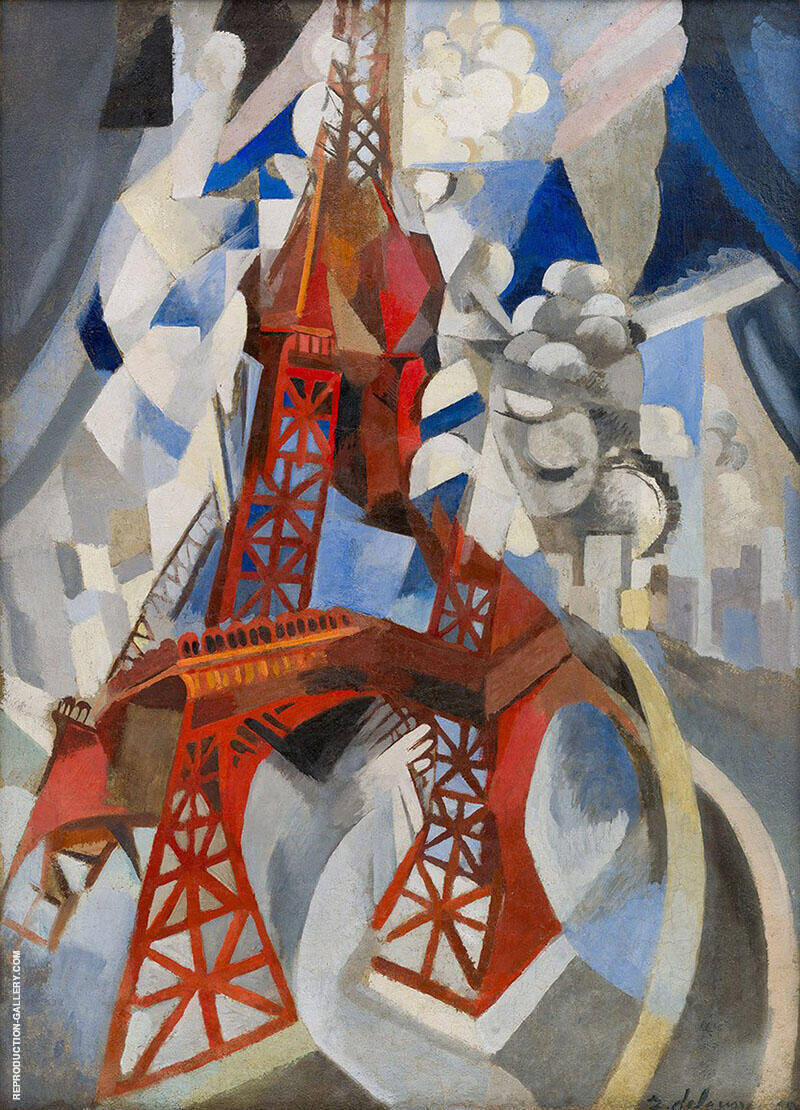 Red Eiffel Tower 1911 By Robert Delaunay Replica Paintings on Canvas - Reproduction Gallery