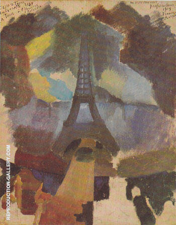 Tower First Study 1909 By Robert Delaunay - Oil Paintings & Art Reproductions - Reproduction Gallery