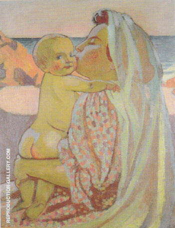 L'Enfant nu dans les bras de sa mere ou Maternite a Perror 1906 By Maurice Denis Replica Paintings on Canvas - Reproduction Gallery