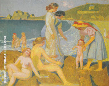 Baigneuses a Perros 1909 By Maurice Denis Replica Paintings on Canvas - Reproduction Gallery