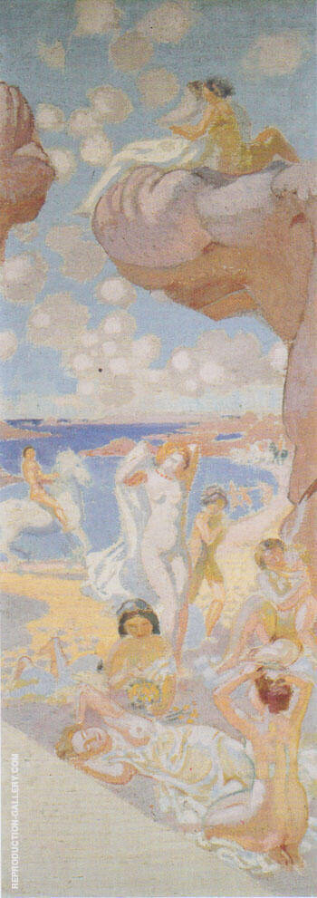 Plage au cheval blanc esquisse pour L'Age d'or 1912 By Maurice Denis
