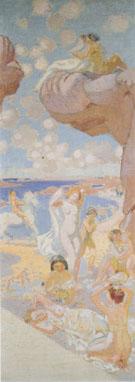 Plage au cheval blanc esquisse pour L'Age d'or 1912 By Maurice Denis