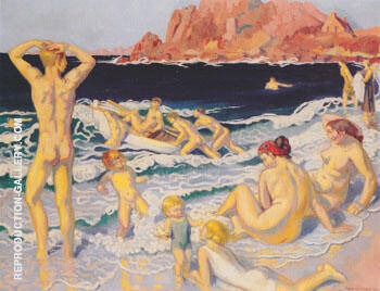 Reproduction of Plage au canot et a I'homme nu 1924 by Maurice Denis | Oil Painting Replica On CanvasReproduction Gallery