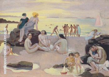 Plage a la mer jaune ou Plage au bateau rose 1927 By Maurice Denis