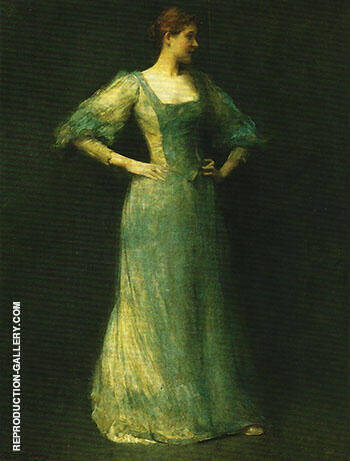 The Blue Dress 1892 By Thomas Wilmer Dewing - Oil Paintings & Art Reproductions - Reproduction Gallery