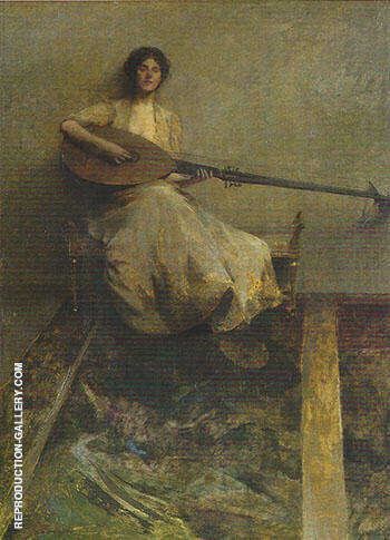 Reproduction of Girl with a Lute 1905 by Thomas Wilmer Dewing | Oil Painting Replica On CanvasReproduction Gallery