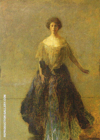 The Blue Dress 1913 By Thomas Wilmer Dewing Replica Paintings on Canvas - Reproduction Gallery