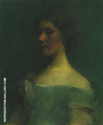 Portrait in Blue 1896 By Thomas Wilmer Dewing