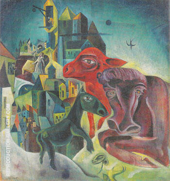 City with Animals c.a.1919 Painting By Max Ernst - Reproduction Gallery