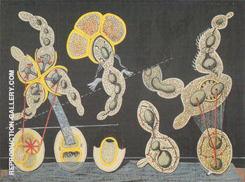The Graminaceous Bicycle c.a. 1921 Painting By Max Ernst