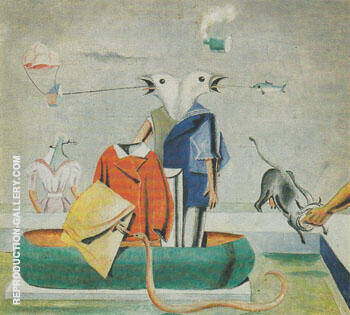 Reproduction of Birds Fish Snake c.a.1921 by Max Ernst | Oil Painting Replica On CanvasReproduction Gallery