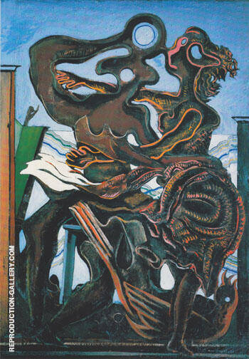 Two poeple and a Bird 1926 By Max Ernst - Oil Paintings & Art Reproductions - Reproduction Gallery