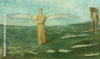 Reproduction of Tobias and the Angel 1887 by Thomas Wilmer Dewing | Oil Painting Replica On CanvasReproduction Gallery