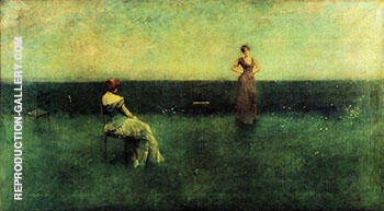 The Recitation 1891 By Thomas Wilmer Dewing - Oil Paintings & Art Reproductions - Reproduction Gallery
