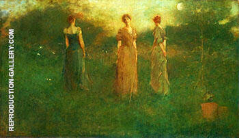 In The Garden c 1892 By Thomas Wilmer Dewing - Oil Paintings & Art Reproductions - Reproduction Gallery