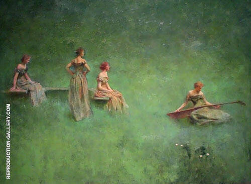 Reproduction of The Lute c1904 by Thomas Wilmer Dewing | Oil Painting Replica On CanvasReproduction Gallery