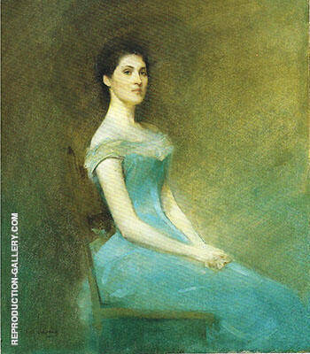 Lady in Blue 1892 By Thomas Wilmer Dewing - Oil Paintings & Art Reproductions - Reproduction Gallery