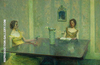 A Reading 1897 By Thomas Wilmer Dewing - Oil Paintings & Art Reproductions - Reproduction Gallery