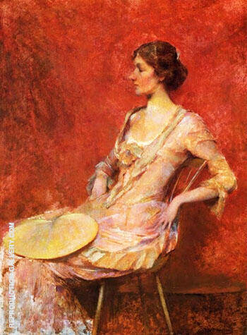 Reproduction of The Palm Leaf Fan c 1906 by Thomas Wilmer Dewing | Oil Painting Replica On CanvasReproduction Gallery