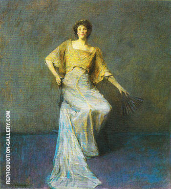 Reproduction of Lady with a Fan 1911 by Thomas Wilmer Dewing | Oil Painting Replica On CanvasReproduction Gallery