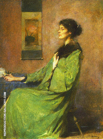 Portrait of a Lady Holding A Rose 1912 By Thomas Wilmer Dewing