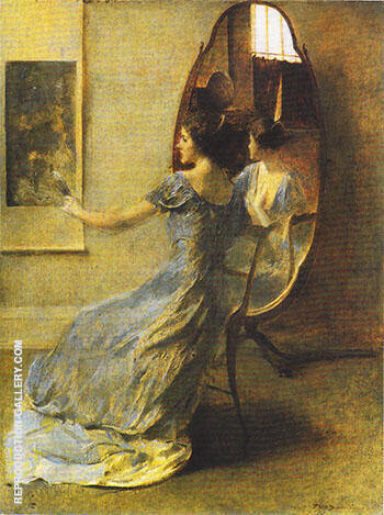 Before the Mirror 1916 By Thomas Wilmer Dewing Replica Paintings on Canvas - Reproduction Gallery
