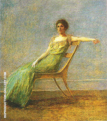 Lady in Green Dress c 1917-19 By Thomas Wilmer Dewing - Oil Paintings & Art Reproductions - Reproduction Gallery