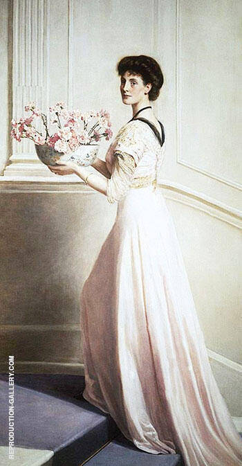 Lady with a Bowl of Pink Carnations By John Maler Collier - Oil Paintings & Art Reproductions - Reproduction Gallery