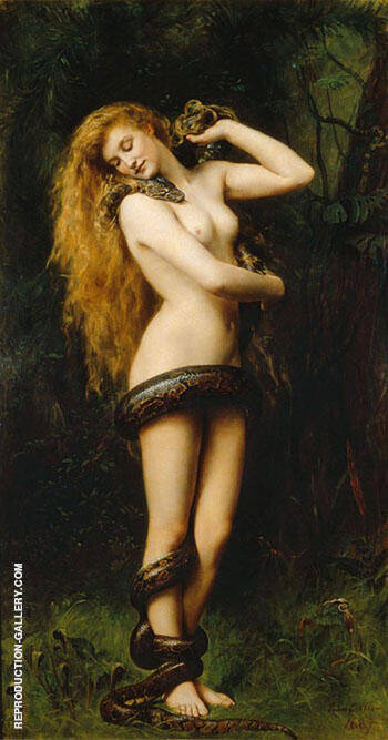 Lilith with a Snake 1886 By John Maler Collier