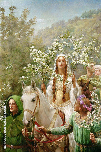 Queen Guinevres Maying 1900 By John Maler Collier - Oil Paintings & Art Reproductions - Reproduction Gallery