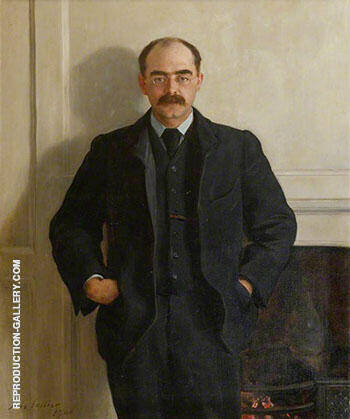 Rudyard Kipling 1900 By John Maler Collier - Oil Paintings & Art Reproductions - Reproduction Gallery