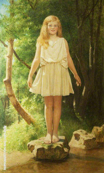 Stepping Stones Pamela 1929 By John Maler Collier Replica Paintings on Canvas - Reproduction Gallery