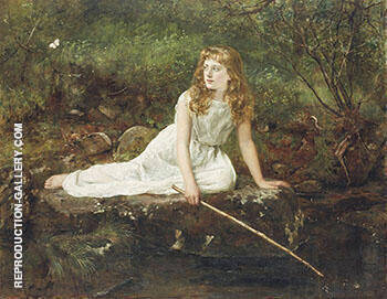 The Butterfly By John Maler Collier - Oil Paintings & Art Reproductions - Reproduction Gallery