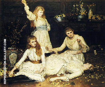 The Daughters of Colonel Makins By John Maler Collier - Oil Paintings & Art Reproductions - Reproduction Gallery