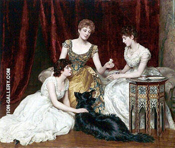 The Three Daughters of William Reed 1886 By John Maler Collier Replica Paintings on Canvas - Reproduction Gallery