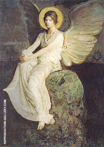 Angel Seated on a Rock 1899 By Abbott H Thayer Replica Paintings on Canvas - Reproduction Gallery