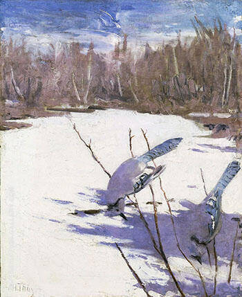 Reproduction of Blue Jays in Winter 1905-09 by Abbott H Thayer | Oil Painting Replica On CanvasReproduction Gallery