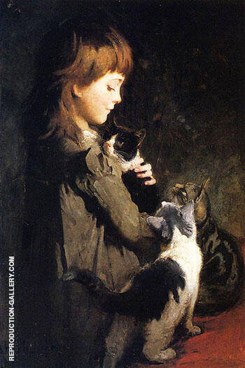 Favorite Kitten By Abbott H Thayer - Oil Paintings & Art Reproductions - Reproduction Gallery