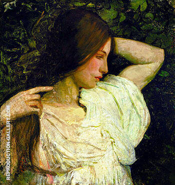 Girl Arranging Her Hair 1918-19 By Abbott H Thayer Replica Paintings on Canvas - Reproduction Gallery