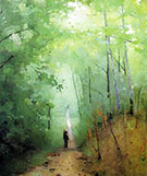 Landscape at Fontainebleau Forest 1876 By Abbott H Thayer