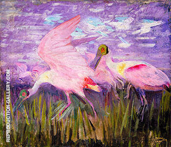 Reproduction of Roseate Spoonbills c 1905 by Abbott H Thayer | Oil Painting Replica On CanvasReproduction Gallery