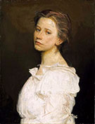 Young Woman in White 1890-1899 By Abbott H Thayer