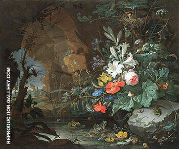 The Interior of a Grotto with a Rock Pool Frogs Salamanders a Bird's Nest and a Large Bouquet of Flowers By Abraham Mignon