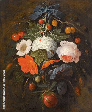 A Festoon of Flowers and Fruit Including a Pink Rose A Poppy A SnowBall Gooseberries and Fraises De Bois Along with a Varity of Insects By Abraham Mignon