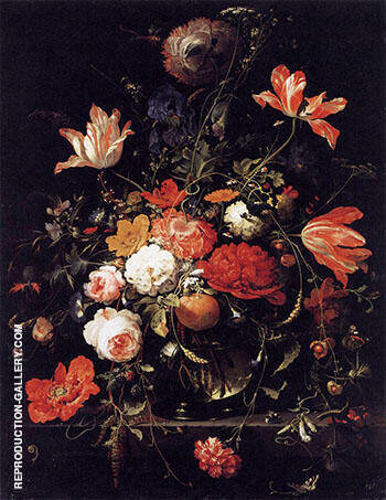 Reproduction of A Glass of Flowers and an Orange Twig 1660s by Abraham Mignon | Oil Painting Replica On CanvasReproduction Gallery