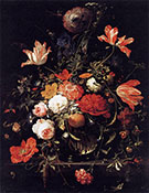 A Glass of Flowers and an Orange Twig 1660s By Abraham Mignon