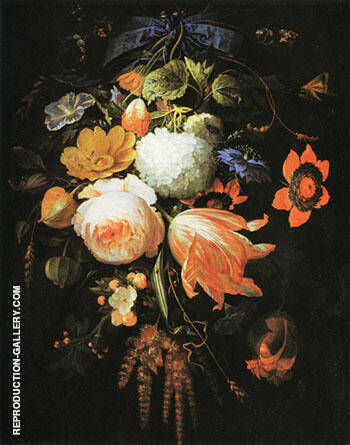 A Hanging Bouquet of Flowers c 1665-70 By Abraham Mignon - Oil Paintings & Art Reproductions - Reproduction Gallery