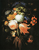 A Hanging Bouquet of Flowers c 1665-70 By Abraham Mignon