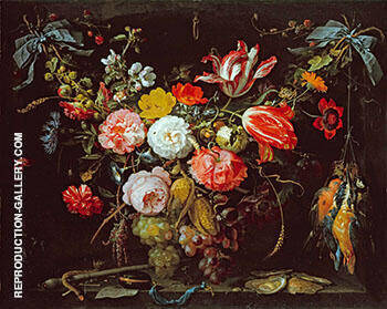 A Swag of Flowers and Fruit Representing the Four Elements By Abraham Mignon - Oil Paintings & Art Reproductions - Reproduction Gallery